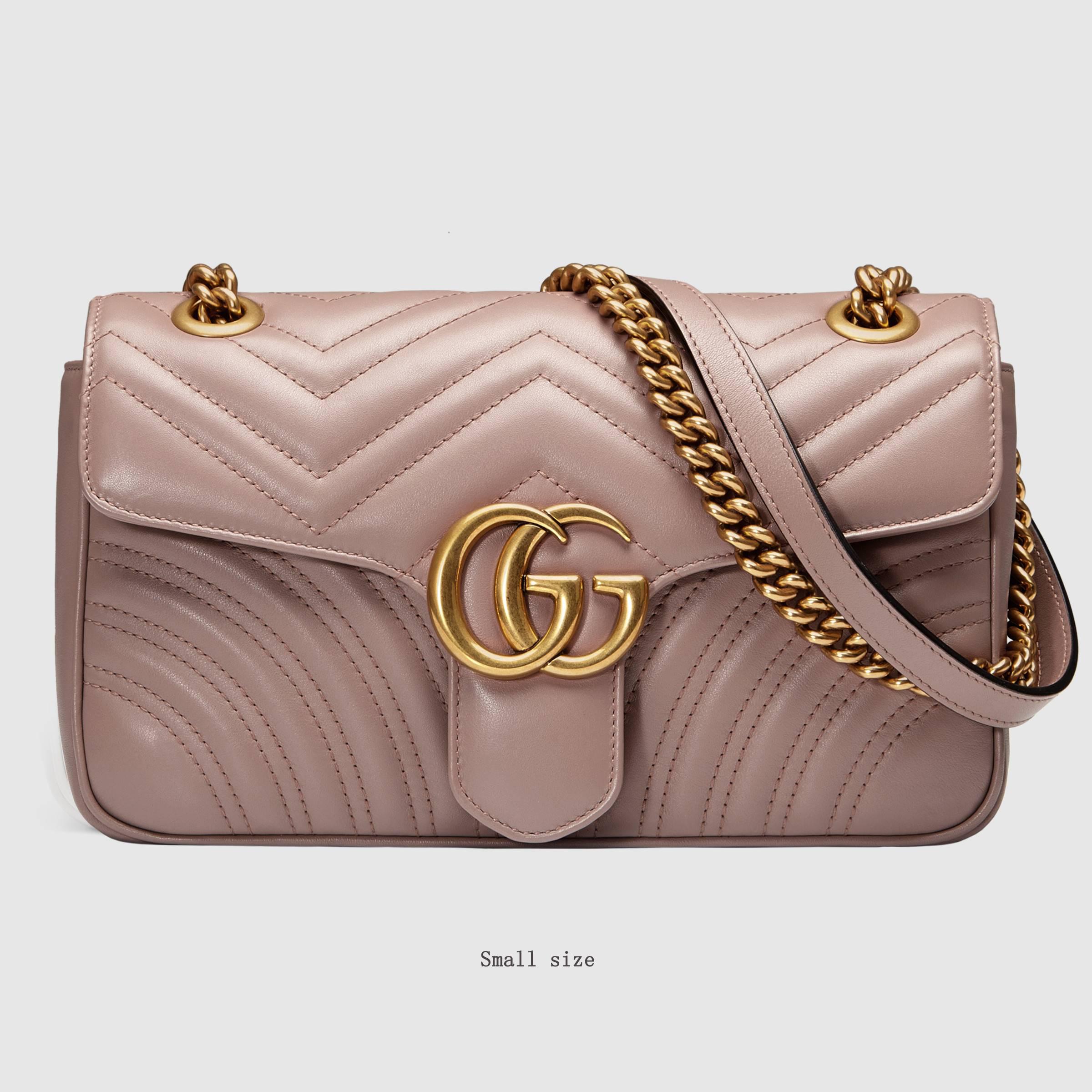 558c4a8869d ... matelassé shoulder bag purse pink gucci marmont medium leather chain  bags for women. 1 9