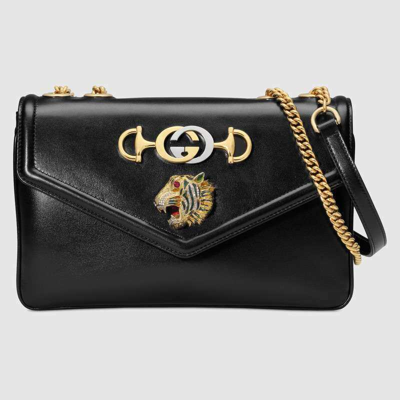 e51455cf48c New Black leather gucci bag tiger purse handbag Rajah medium gucci ...