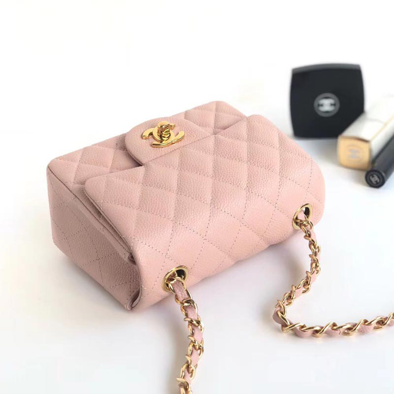 Coco Chanel Mini Flap Rectangular Classic Quilted Bag Handbags Pink Chanel Caviar Bag Small