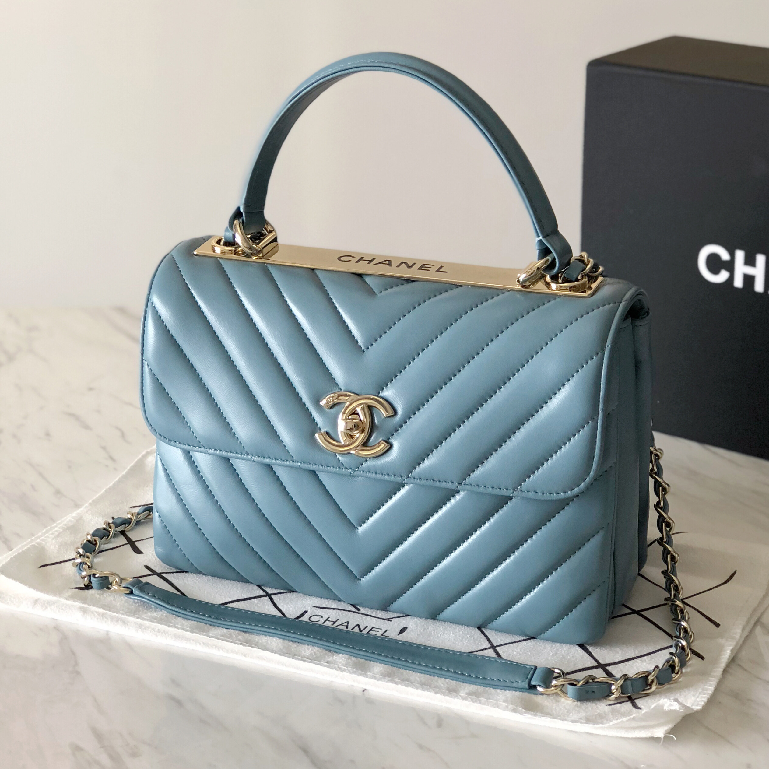 Coco Chanel Flap Bag With Top Handle Chevron Purse Small