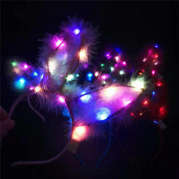 LED Christmas Headband Rabbit Ear Headdress for Party Kids Hair Sticks