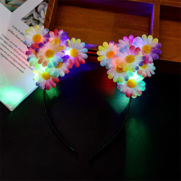 LED Flower Headband Cat Ear Headdress for Party Hair Sticks