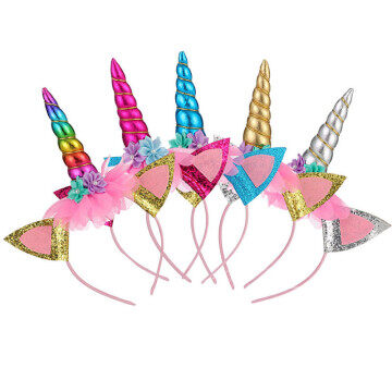 Floral LED Unicorn Headband Birthday Party Hair Stickers Gifts for girls