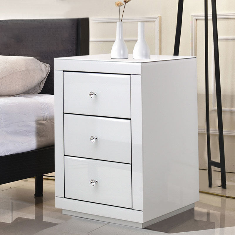 JM0413 White Glass Bedside Table With 3 Drawers Mirrored Cabinet Storage  Furniture