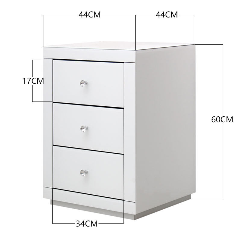 glass bedside table. JM0413 White Glass Bedside Table With 3 Drawers Mirrored Cabinet Storage Furniture