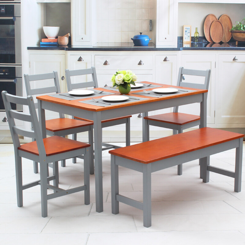 Hg0098 New Dining Table And 4 Chairs Bench Set Wooden Furniture Bistro Kitchen