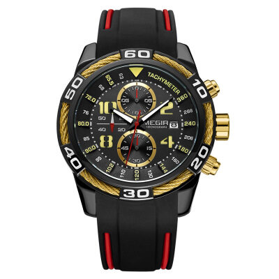 MEGIR 2045 Men's Sports Watch Chronograph Men Quartz Wrist Watches(free shipping) 2