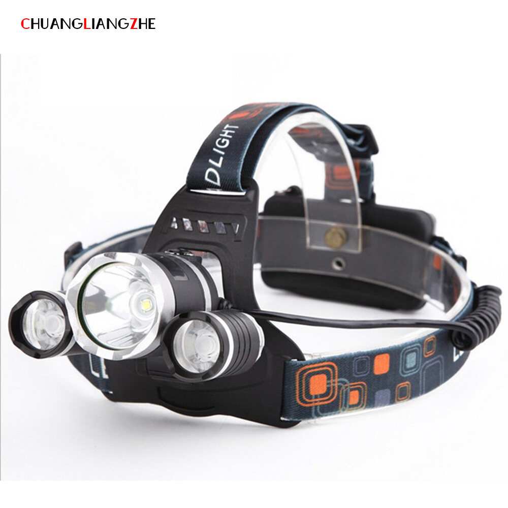 CHUANGLIANGZHE LED Headlamp 10000 Lumens 3 * T6 Rechargeable Flashlight Headlight 18650 Battery Hunting Fishing Light 1