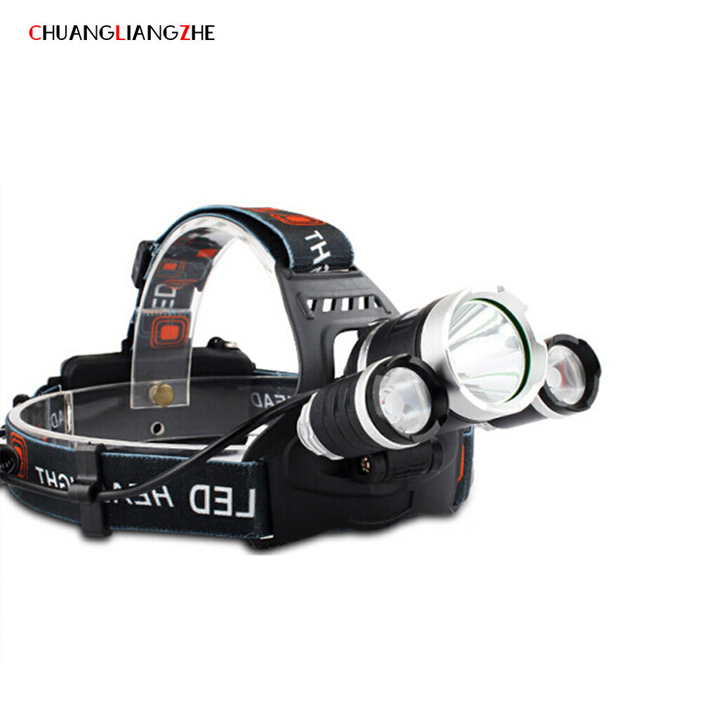 CHUANGLIANGZHE LED Headlamp 10000 Lumens 3 * T6 Rechargeable Flashlight Headlight 18650 Battery Hunting Fishing Light 2