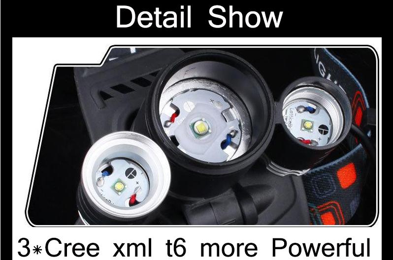 CHUANGLIANGZHE LED Headlamp 10000 Lumens 3 * T6 Rechargeable Flashlight Headlight 18650 Battery Hunting Fishing Light 9
