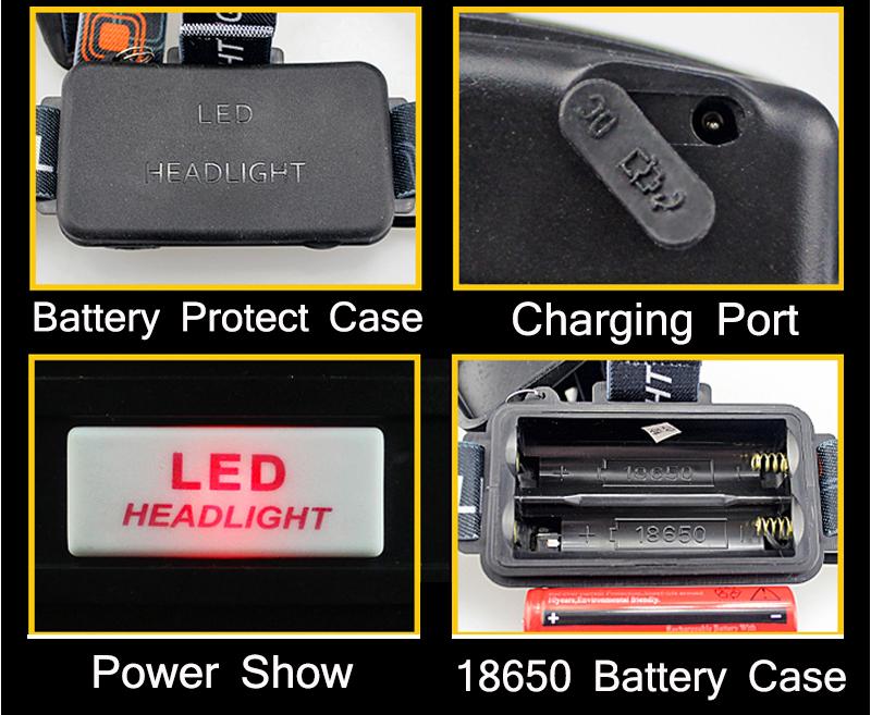 CHUANGLIANGZHE LED Headlamp 10000 Lumens 3 * T6 Rechargeable Flashlight Headlight 18650 Battery Hunting Fishing Light 11