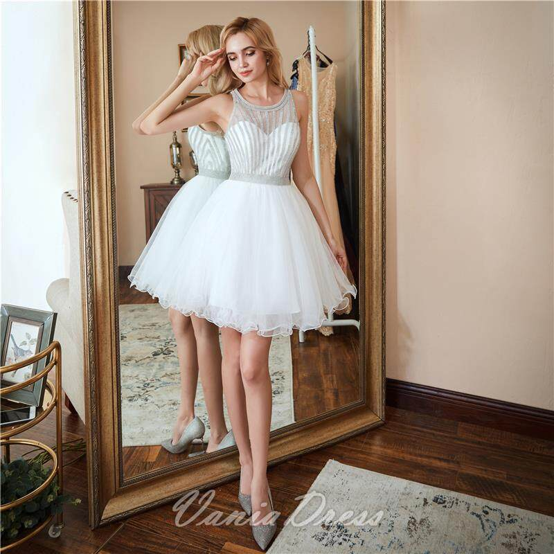 A-Line White Beaded Ruffled Tulle Homecoming Dress 045DS 0