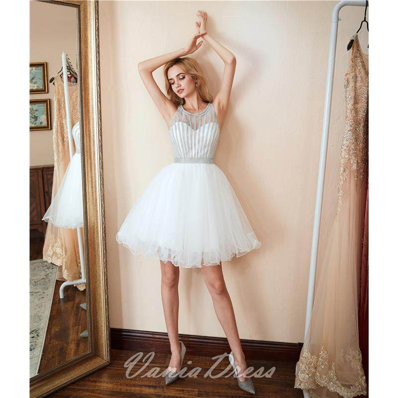 A-Line White Beaded Ruffled Tulle Homecoming Dress 045DS 3