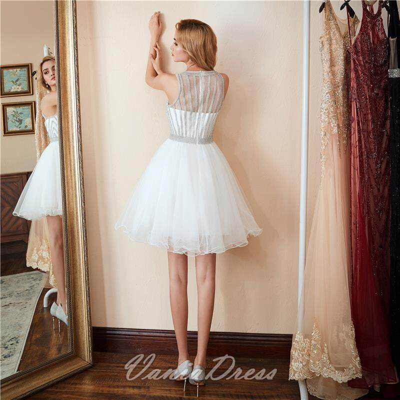 A-Line White Beaded Ruffled Tulle Homecoming Dress 045DS 2
