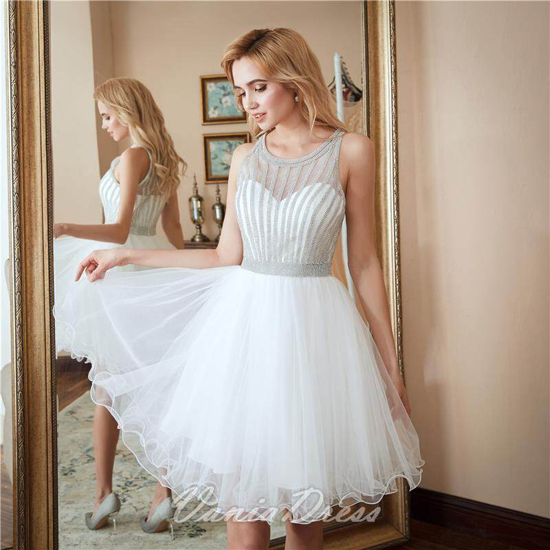 A-Line White Beaded Ruffled Tulle Homecoming Dress 045DS 4