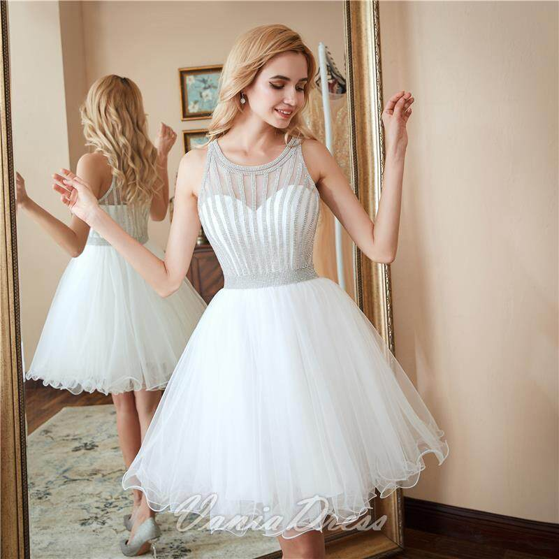 A-Line White Beaded Ruffled Tulle Homecoming Dress 045DS 1