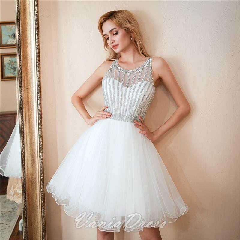 A-Line White Beaded Ruffled Tulle Homecoming Dress 045DS 5