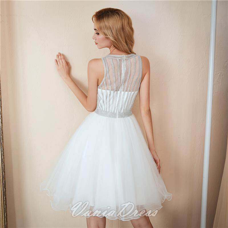 A-Line White Beaded Ruffled Tulle Homecoming Dress 045DS 6