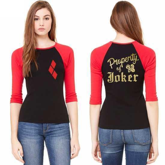 8ec5c8080ba Harley Quinn Women Raglan 3/4 Sleeve T-Shirt Tee Halloween Cosplay ...