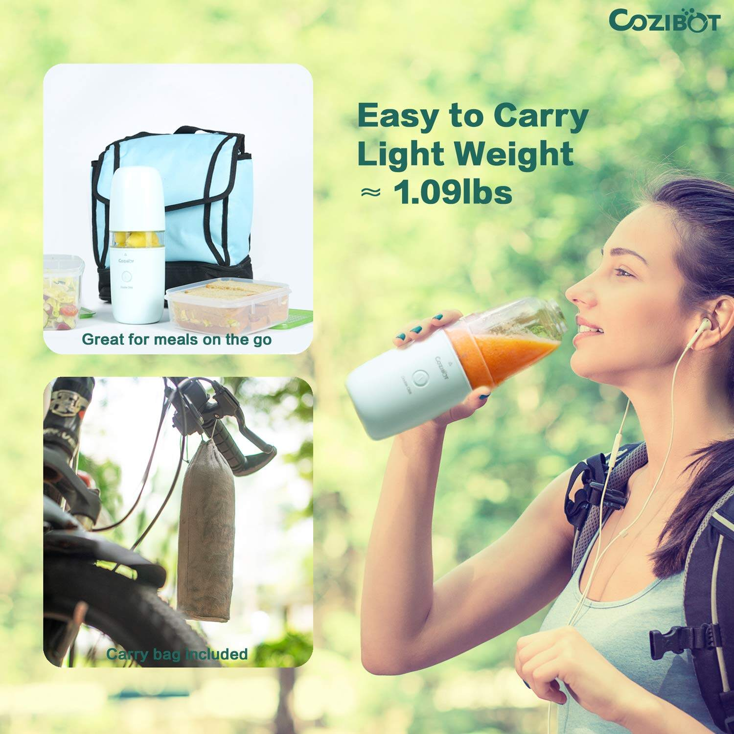 Single-Serve Travel Blender FDA BPA-Free Cozibot Travel Blender for Smoothies and Shakes Rechargeable USB Blender for On The Go Personal Blender Fruit Juicer Cup with Ice Tray Portable Blender