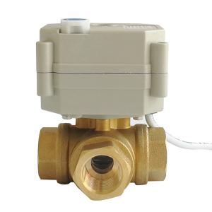 DN15 3 way brass valve T type DC5V