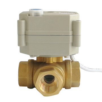 DN15 3 way brass valve T type DC5V