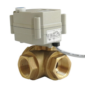 DN20 3 WAY BRASS Electric motorized ball valve used for drain water