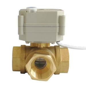 dn25 3 way brass Electric motorized ball valve used for Water heater