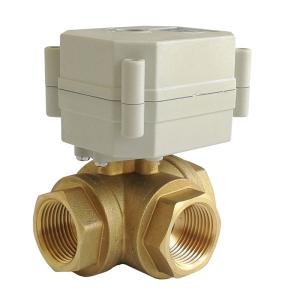 DN20 Electric normal close ball valve 3-way