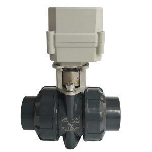 """1-1/4"""" UPVC material Electric water valve with 10Nm electric valve actuator on/off time 15 seconds, DN32 plastic valve with BSP or NPT thread, 24V electric motor operated water valve with used for swimming pool"""