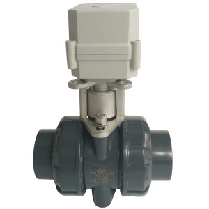 """1-1/2"""" Plastic Electric actuated ball valve DC12V or DC24V, DN40 PVC electric water valve with union ends, CR703 electric automated water valve used for water treatment"""