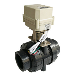 """2"""" Automated water valve with U-PVC valve body, DN50 electric motorized full bore valve with union ends, CR703 electric automated water valve used for swiming pool water supply"""