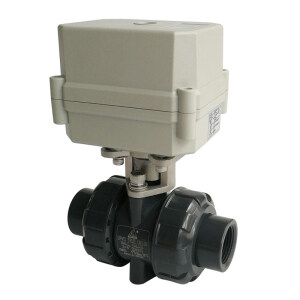 DN20 PVC electric valve with union ends