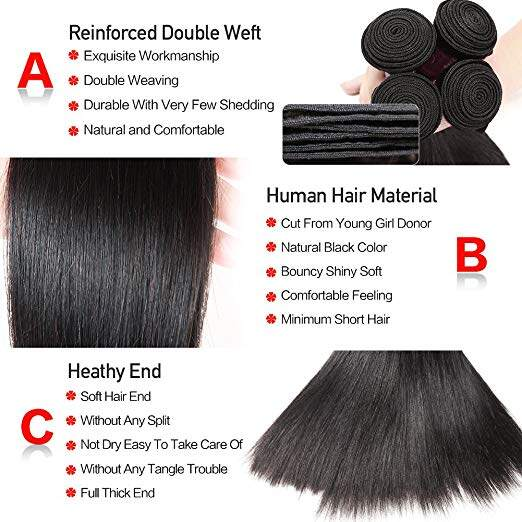 10A 100% Brazilian Straight Hair 4 Bundles Unprocessed Virgin Human Hair 6