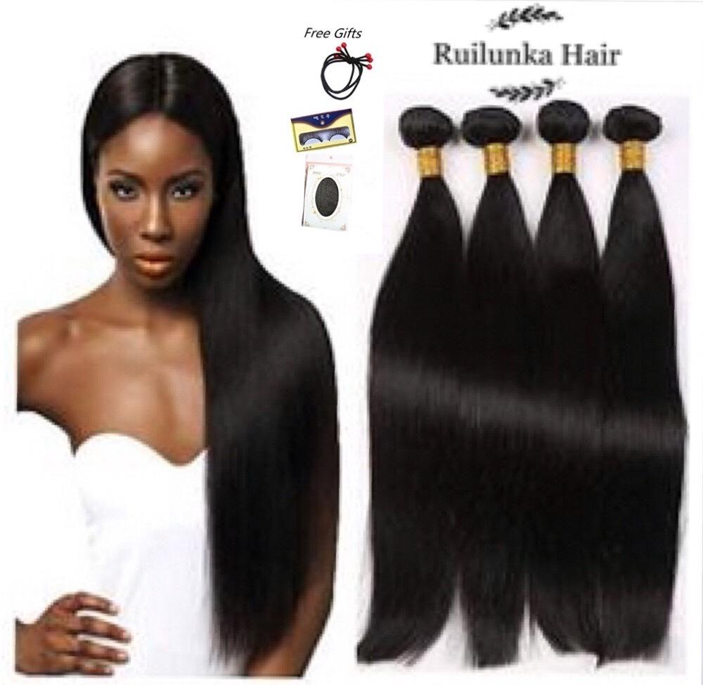 10A 100% Brazilian Straight Hair 4 Bundles Unprocessed Virgin Human Hair 1