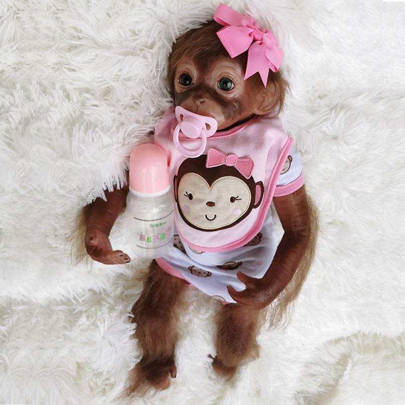 "20/"" Realistic Reborn Monkey Baby Dolls Soft Vinly Handmade Cute Monkey Boy Doll"