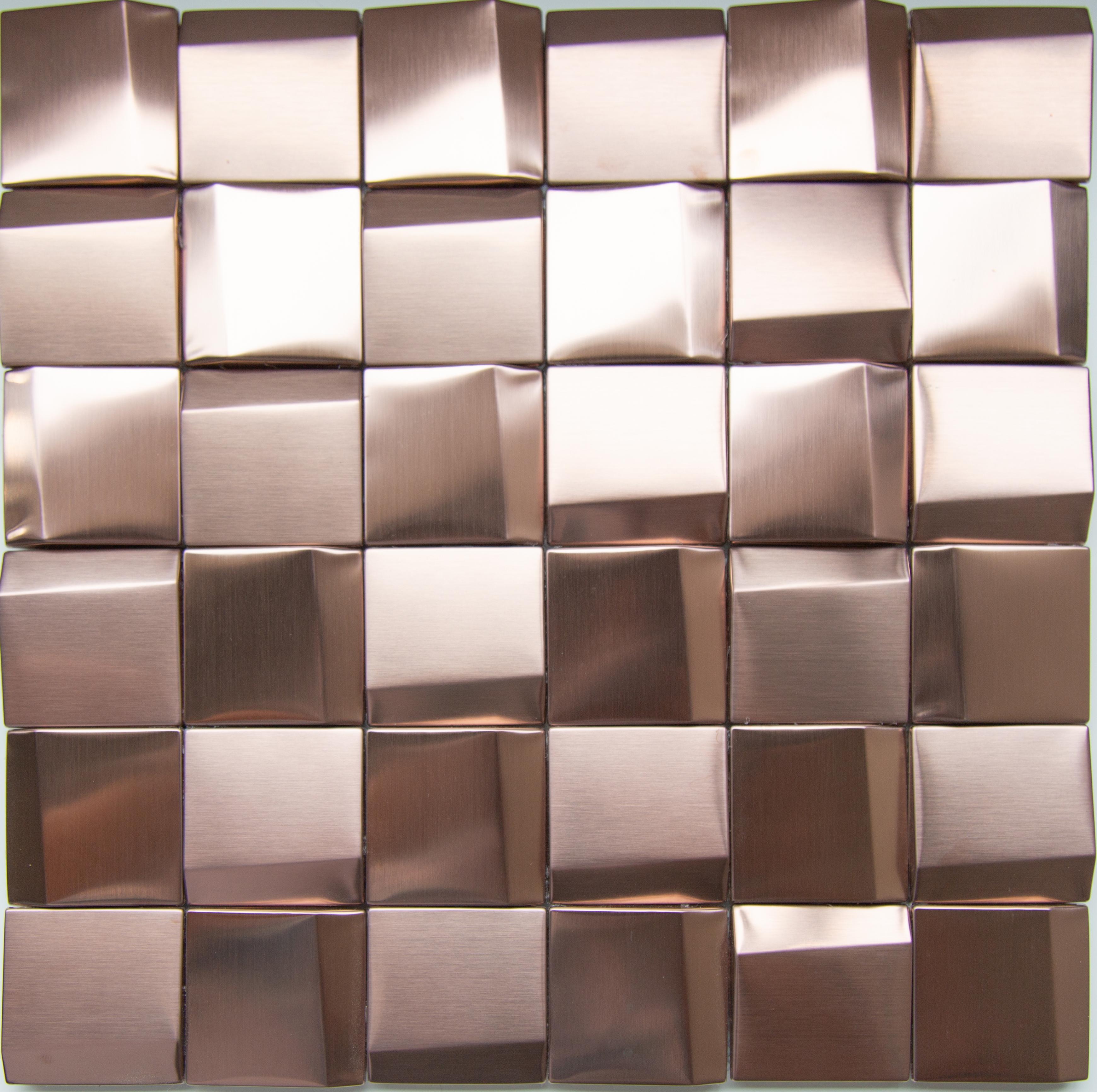 3d Cubic Rose Gold Decorative Stainless Steel Mosaic Tile Backsplash Design