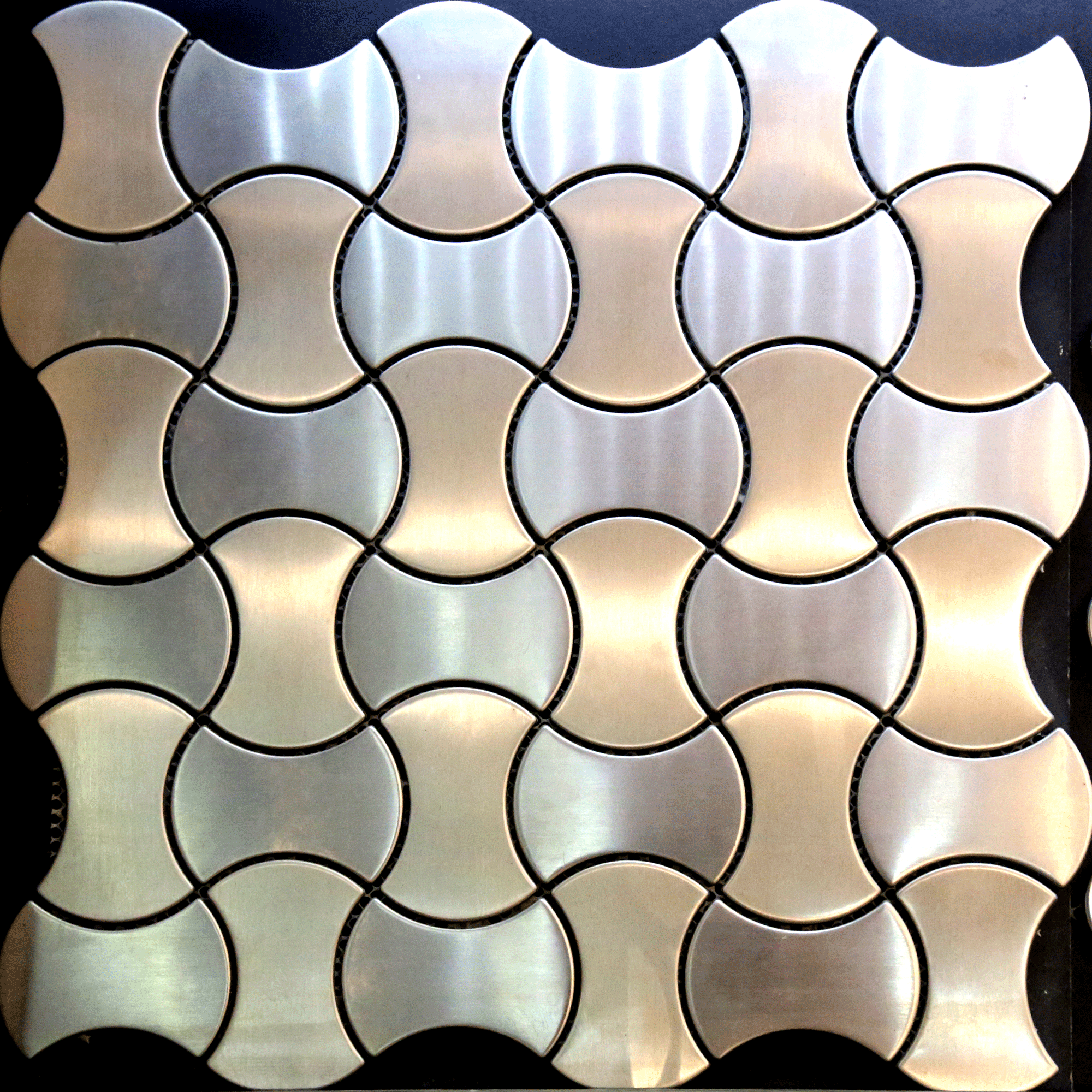 - Mosaic Tile Silver Mix Gold Brushed Stainless Steel 3D Wall Backsplash