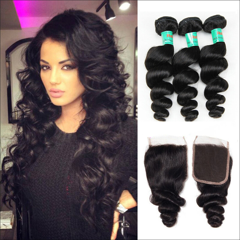 8b440a3b2 Brazilian Virgin Remy Hair With Closure Spring Loose Curly | RabakeHair
