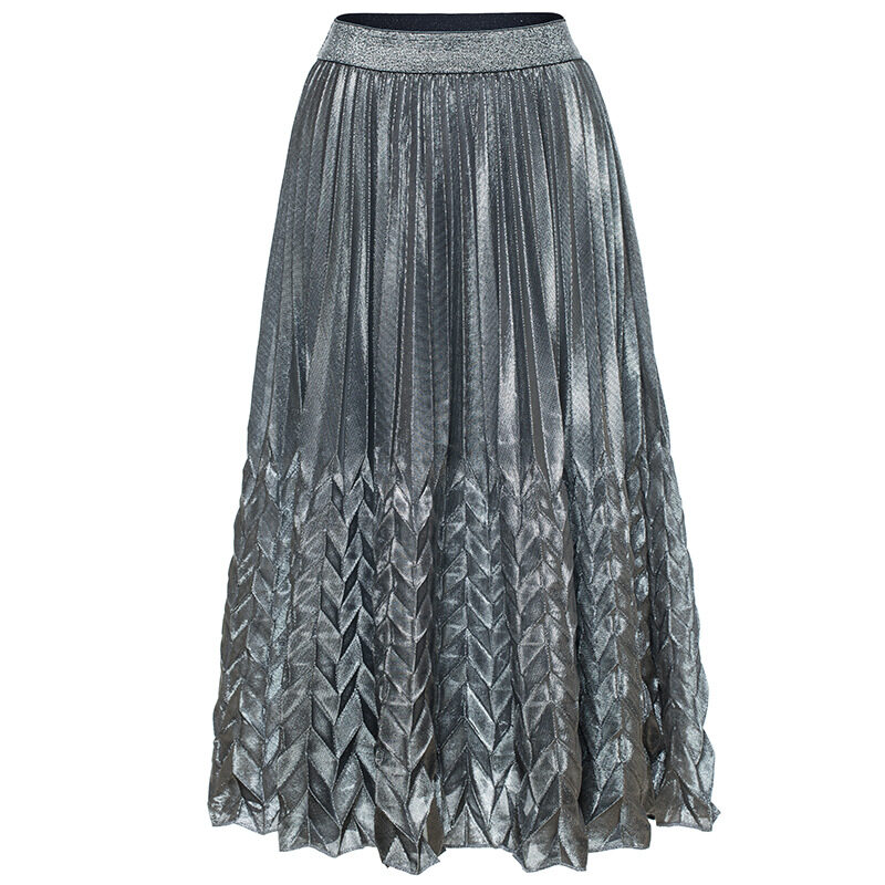 Women's high waist pleated skirt with silver gold colors 5