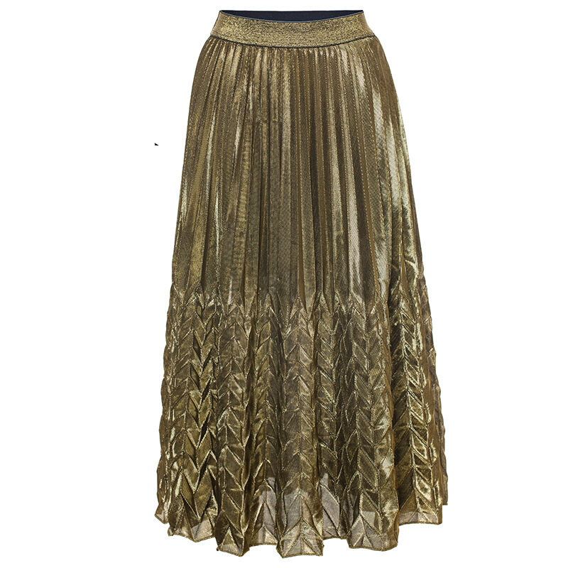Women's high waist pleated skirt with silver gold colors 6