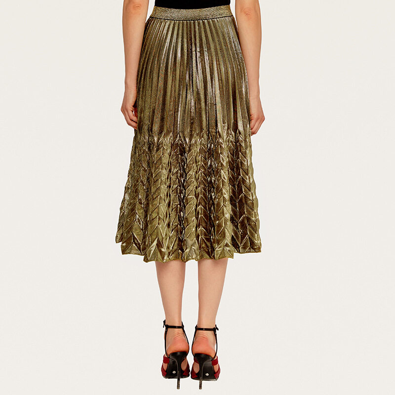 Women's high waist pleated skirt with silver gold colors 3