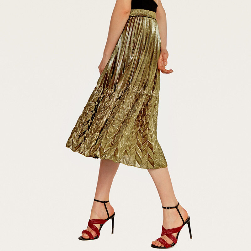 Women's high waist pleated skirt with silver gold colors 1