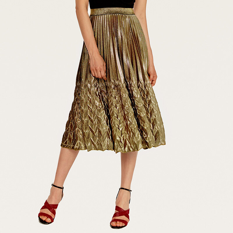 Women's high waist pleated skirt with silver gold colors 0