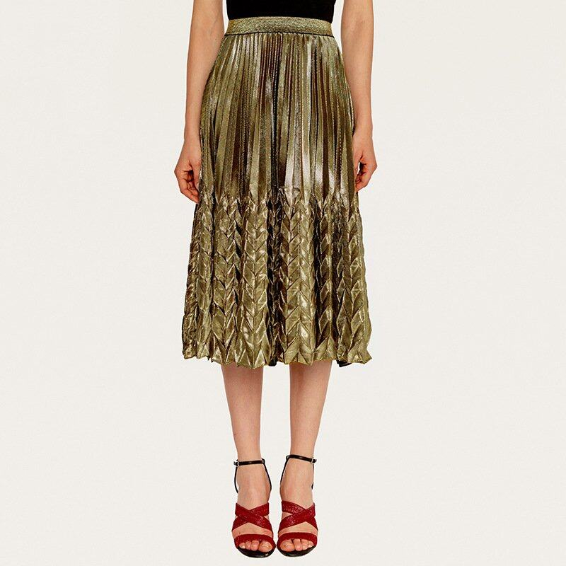 Women's high waist pleated skirt with silver gold colors 2