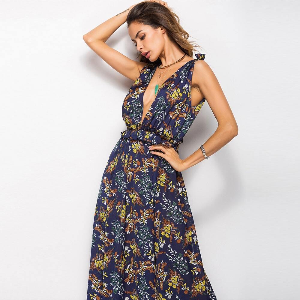 Women's sexy deep-v neck black flower color madi dresses 3