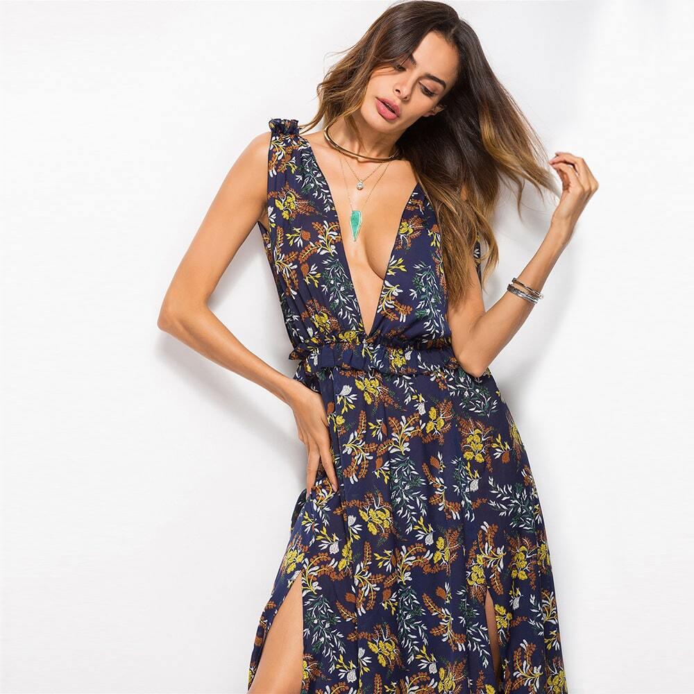 Women's sexy deep-v neck black flower color madi dresses 4