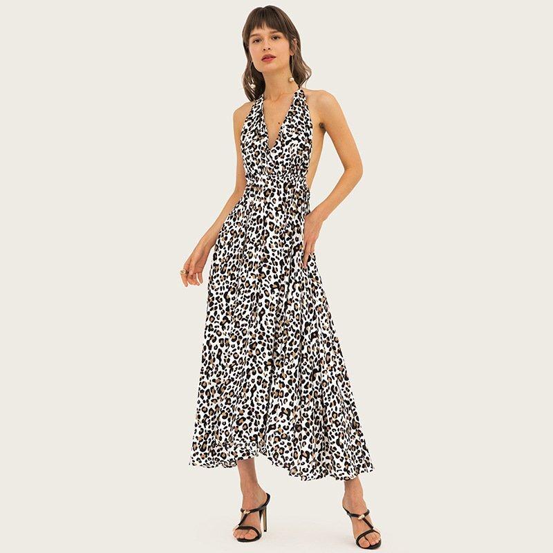 Women's sleeveless leopard color madi dresses 1