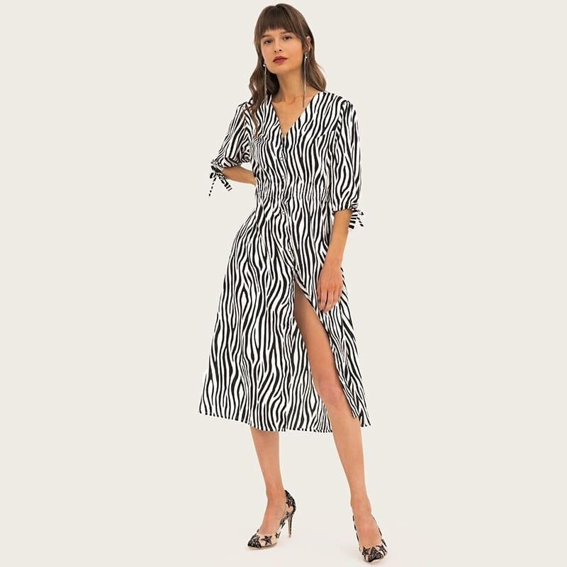 Women's deep-v neck stripe color madi dresses 0