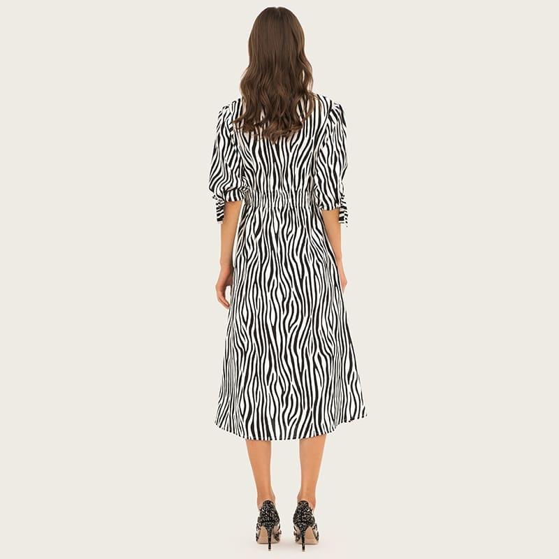 Women's deep-v neck stripe color madi dresses 2